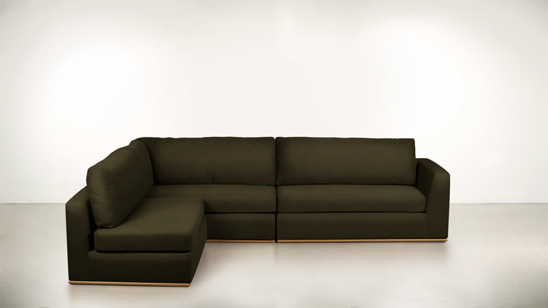 The Innovator Left-Facing Sectional L Modular Sectional Structured Velvet Malachite / Brass Whom. Home