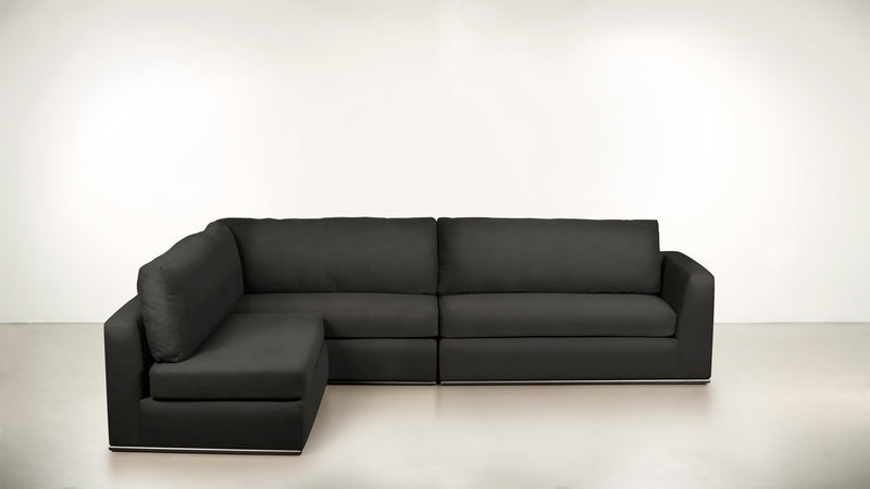 The Innovator Left-Facing Sectional L Modular Sectional Structured Velvet Sterling / Black Whom. Home