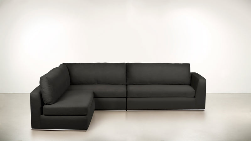 The Innovator Left-Facing Sectional L Modular Sectional Structured Velvet Sterling / Silver Whom. Home