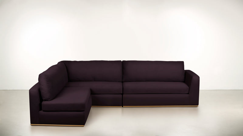 The Innovator Left-Facing Sectional L Modular Sectional Structured Velvet Vineyard / Silver Whom. Home