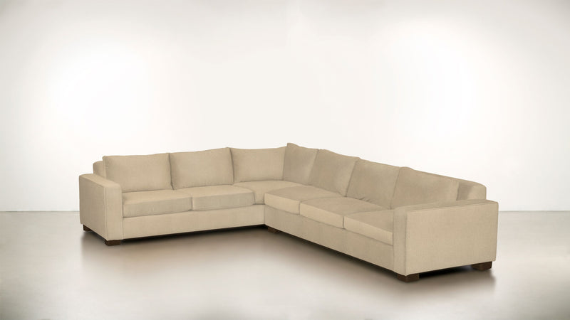 The Guardian L Sectional 2-Piece Set Fine Linen Weave Sand / Chocolate Whom. Home