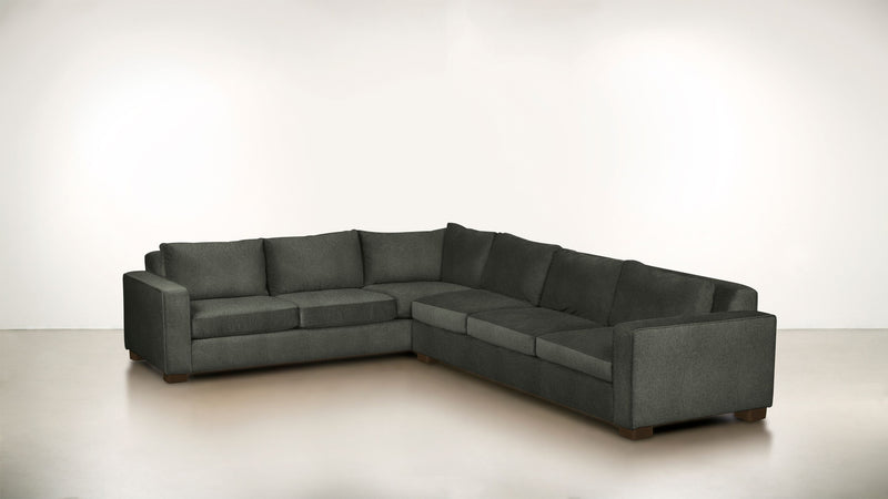 The Guardian L Sectional 2-Piece Set Soft Heathered Weave Charcoal / Chocolate Whom. Home