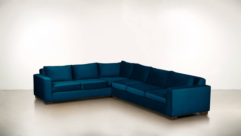 The Guardian L Sectional 2-Piece Set Velvet Knit Cobalt / Chocolate Whom. Home
