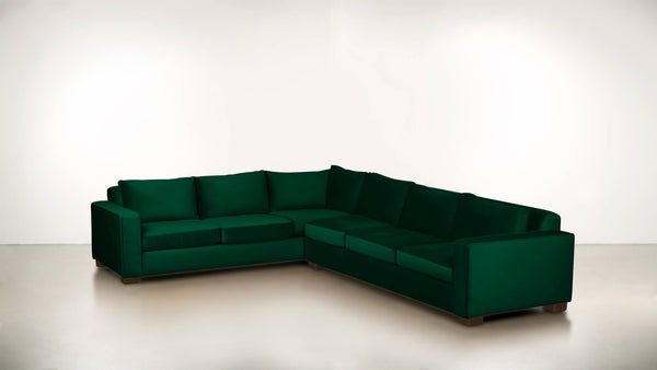 The Guardian L Sectional 2-Piece Set Velvet Knit Evergreen / Chocolate Whom. Home