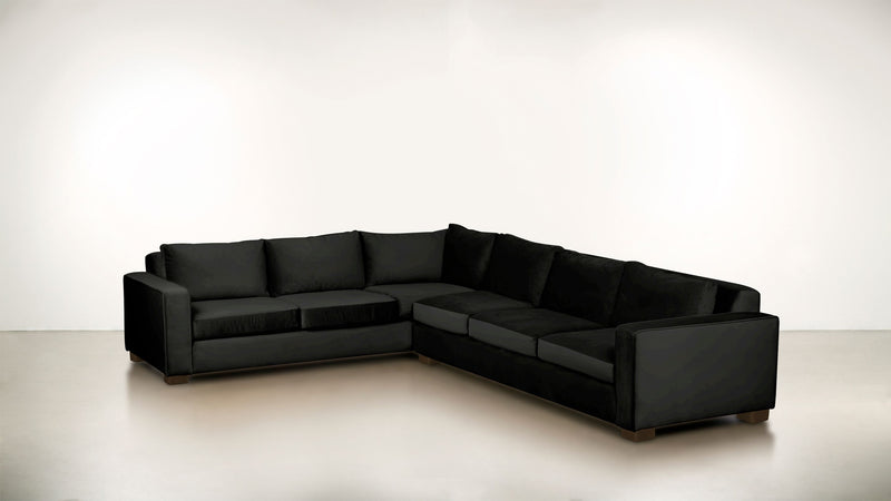 The Guardian L Sectional 2-Piece Set Velvet Knit Onyx / Chocolate Whom. Home