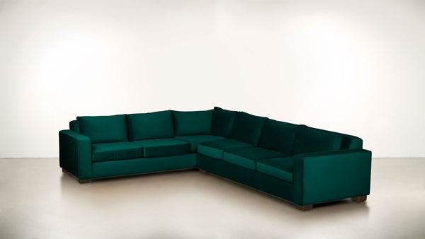 The Guardian L Sectional 2-Piece Set Velvet Knit Peacock / Chocolate Whom. Home