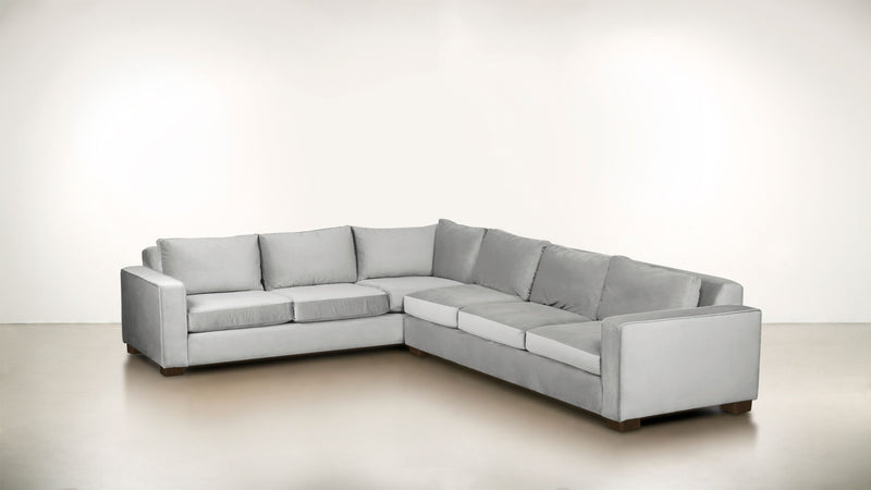 The Guardian L Sectional 2-Piece Set Velvet Knit White / Chocolate Whom. Home