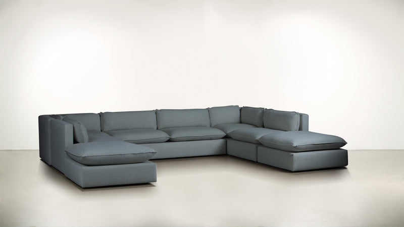 The Oracle Modular Sectional Modular Sectional Lightweight Micro-Chenille French Blue Whom. Home