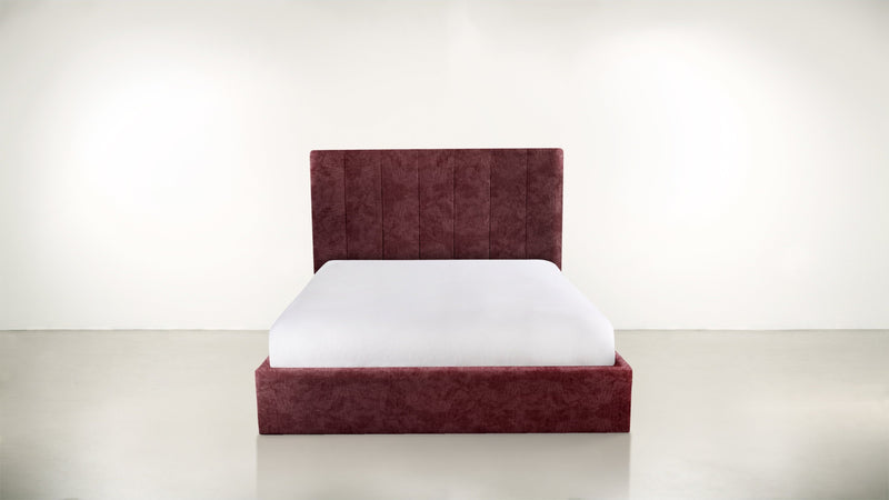The Maximalist Queen Bed Queen Bed Crushed Micro-Chenille Bordeaux Whom. Home