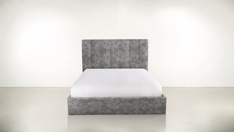 The Maximalist Queen Bed Queen Bed Crushed Micro-Chenille Granite Whom. Home