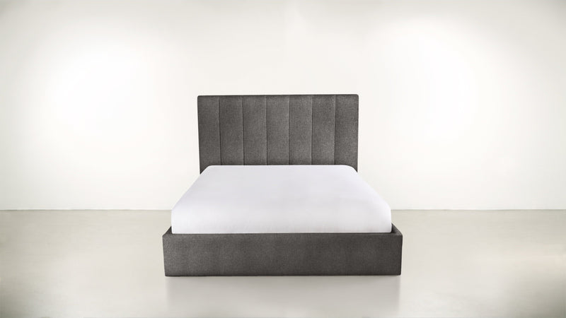 The Maximalist Queen Bed Queen Bed Structured Linen Weave Charcoal Whom. Home