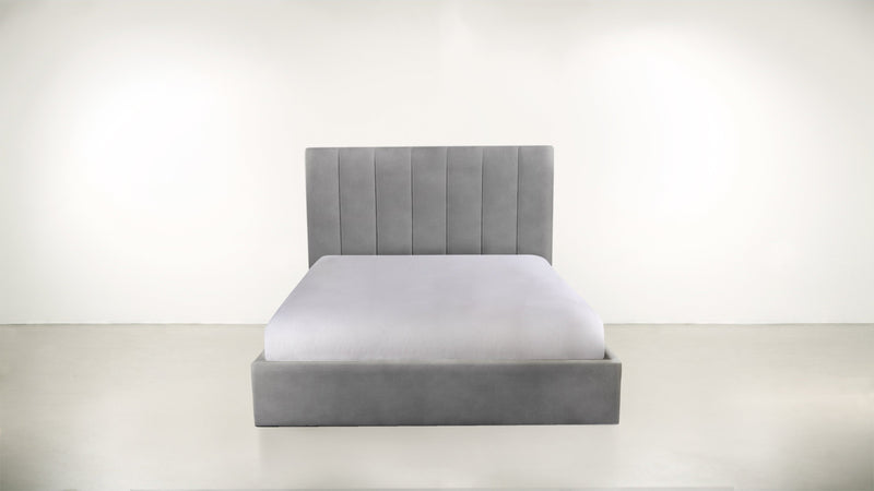 The Maximalist Queen Bed Queen Bed Structured Velvet Gladiator Gray Whom. Home
