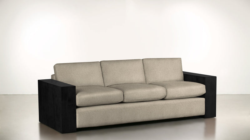 The Philosopher Sofa 6' Sofa Fine Linen Weave Sand / Blackw Whom. Home