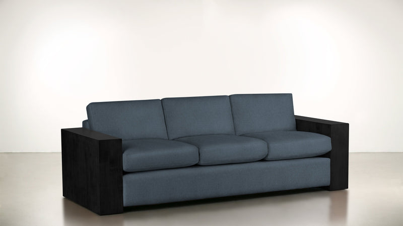 The Philosopher Sofa 6' Sofa Lightweight Micro-Chenille French Blue / Blackw Whom. Home