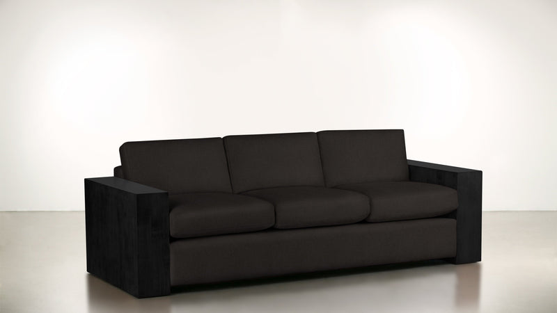 The Philosopher Sofa 6' Sofa Soft Heathered Weave Charcoal / Blackw Whom. Home