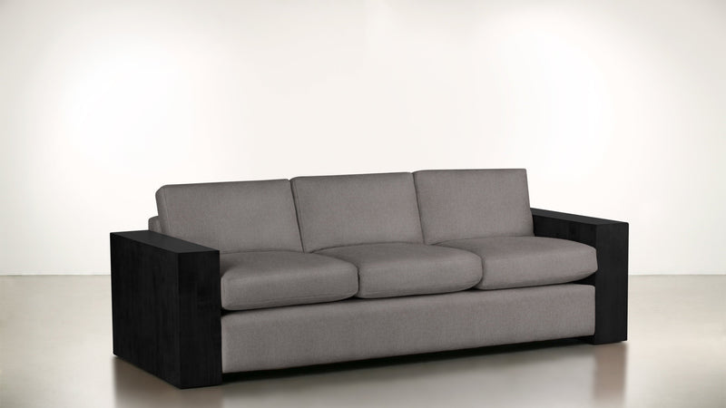 The Philosopher Sofa 6' Sofa Soft Heathered Weave Platinum / Blackw Whom. Home