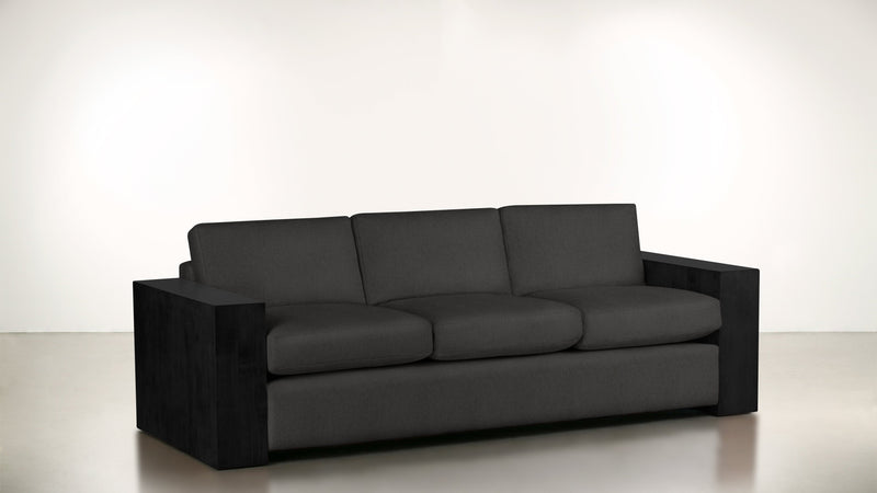 The Philosopher Sofa 6' Sofa Structured Linen Weave Charcoal / Blackw Whom. Home