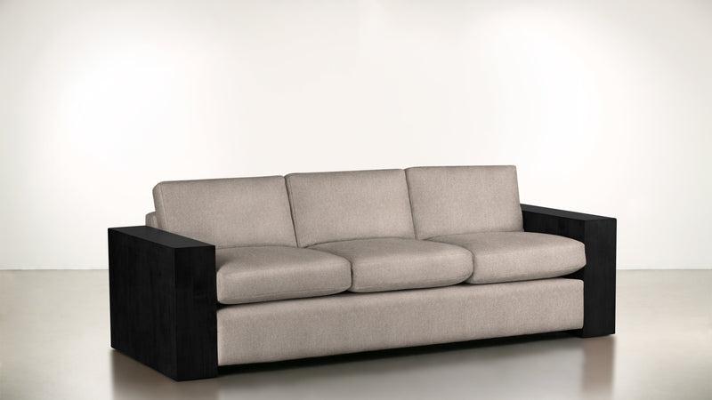 The Philosopher Sofa 6' Sofa Structured Linen Weave Sand / Blackw Whom. Home