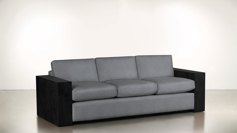The Philosopher Sofa 6' Sofa Structured Linen Weave Steel / Blackw Whom. Home