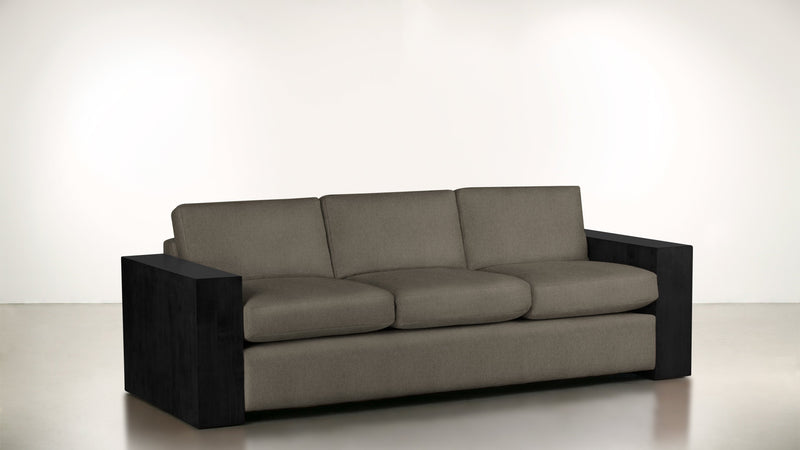 The Philosopher Sofa 6' Sofa Structured Linen Weave Taupe / Blackw Whom. Home