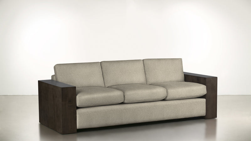 The Philosopher Sofa 6' Sofa Fine Linen Weave Sand / Chocolate Whom. Home
