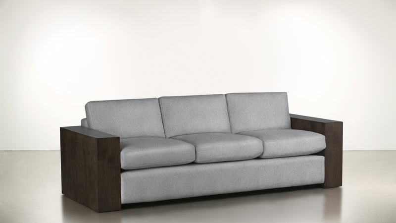 The Philosopher Sofa 6' Sofa Lightweight Micro-Chenille Dove / Chocolate Whom. Home