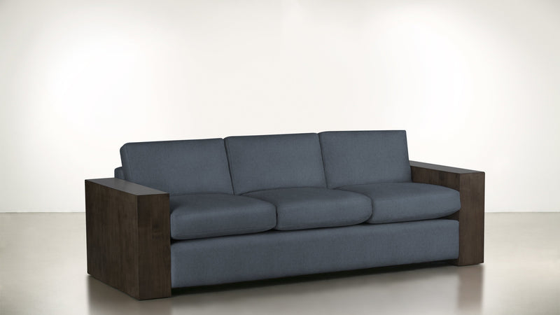 The Philosopher Sofa 6' Sofa Lightweight Micro-Chenille French Blue / Chocolate Whom. Home