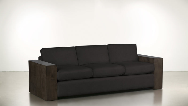 The Philosopher Sofa 6' Sofa Soft Heathered Weave Charcoal / Chocolate Whom. Home