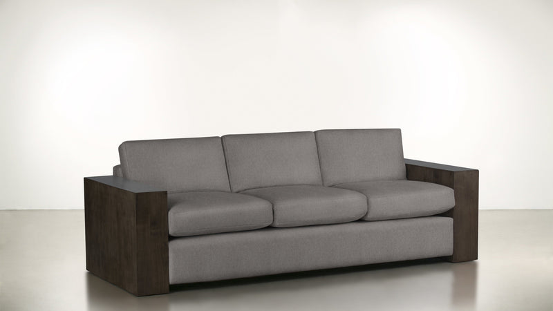 The Philosopher Sofa 6' Sofa Soft Heathered Weave Platinum / Chocolate Whom. Home