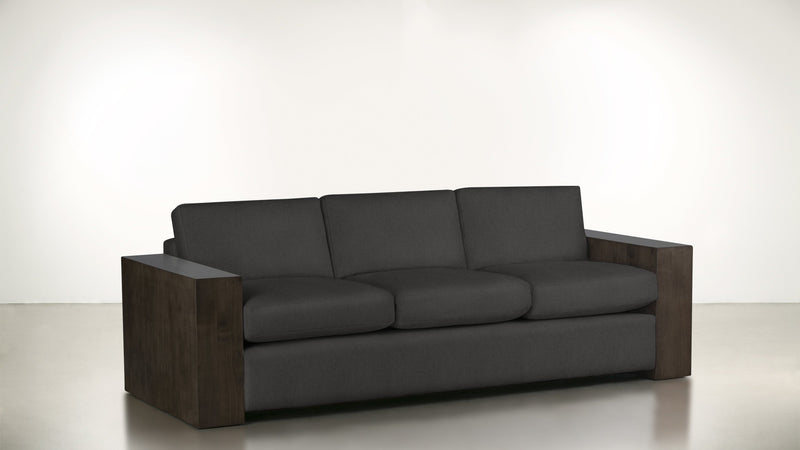 The Philosopher Sofa 6' Sofa Structured Linen Weave Charcoal / Chocolate Whom. Home