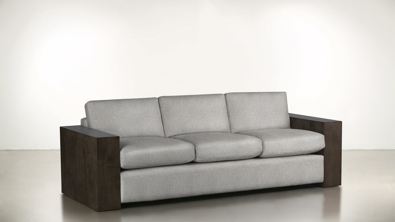 The Philosopher Sofa 6' Sofa Structured Linen Weave Dove / Chocolate Whom. Home