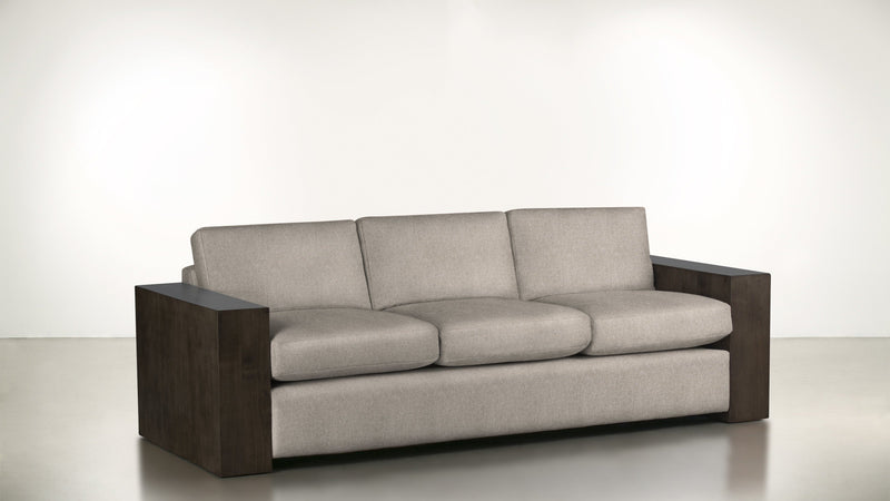 The Philosopher Sofa 6' Sofa Structured Linen Weave Sand / Chocolate Whom. Home