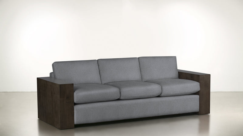 The Philosopher Sofa 6' Sofa Structured Linen Weave Steel / Chocolate Whom. Home