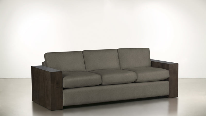 The Philosopher Sofa 6' Sofa Structured Linen Weave Taupe / Chocolate Whom. Home