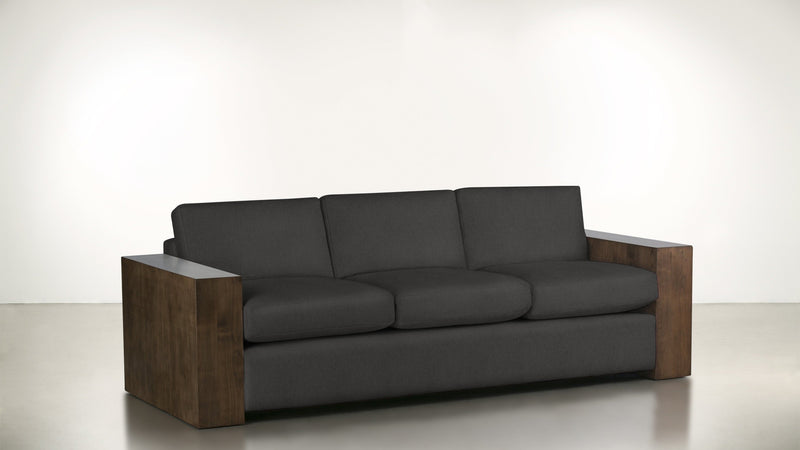 The Philosopher Sofa 6' Sofa Structured Linen Weave Charcoal / Hazel Whom. Home