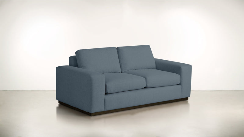 The Pragmatist Sofa 5' Sofa Lightweight Micro-Chenille French Blue / Chocolate Whom. Home