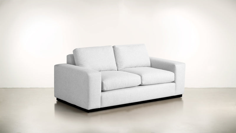 The Pragmatist Sofa 5' Sofa Lightweight Micro-Chenille Snow / Blackw Whom. Home