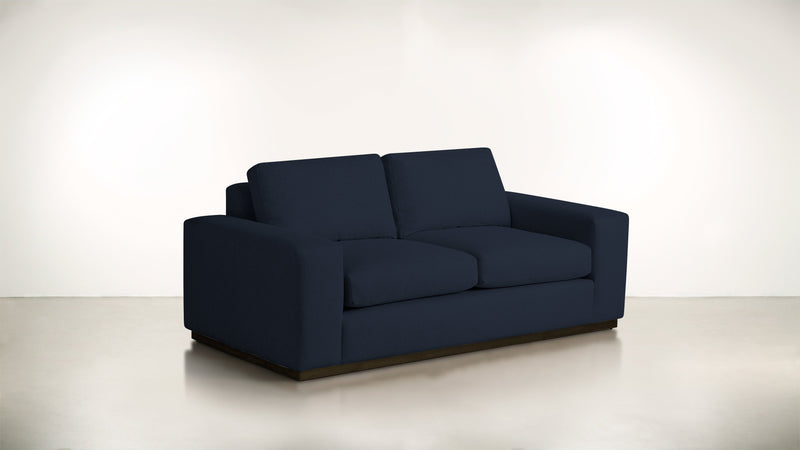 The Pragmatist Sofa 5' Sofa Velvet Knit Cobalt / Chocolate Whom. Home