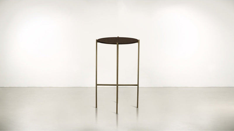 The Sentinel Tall Side Table Tall Side Table Brass / Chocolate Whom. Home