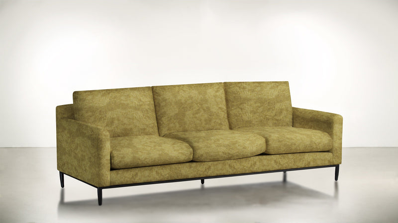 The Tastemaker Sofa 7' Sofa Crushed Micro-Chenille Dijon / Black Whom. Home