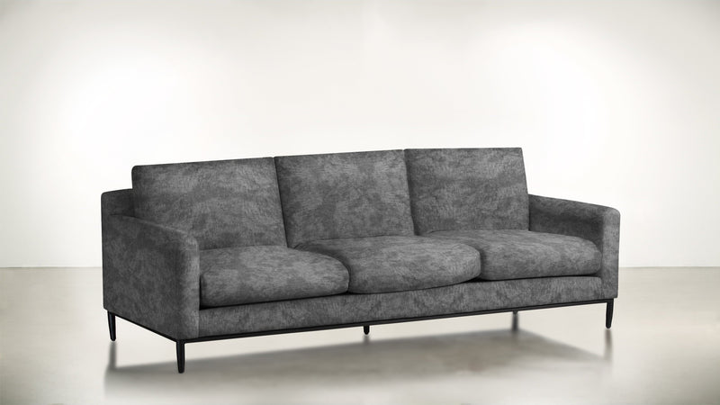 The Tastemaker Sofa 7' Sofa Crushed Micro-Chenille Granite / Black Whom. Home