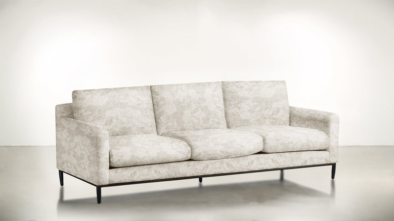 The Tastemaker Sofa 7' Sofa Crushed Micro-Chenille Snow / Black Whom. Home