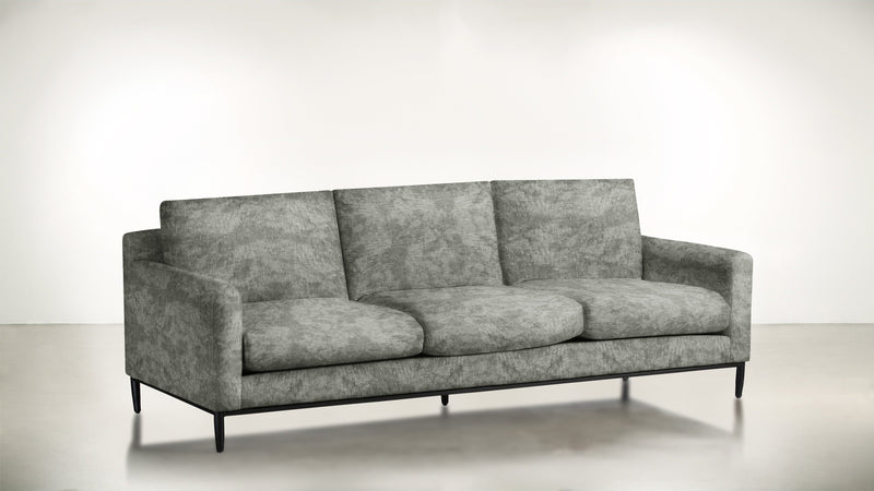 The Tastemaker Sofa 7' Sofa Crushed Micro-Chenille Stone / Black Whom. Home