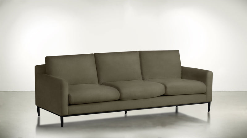 The Tastemaker Sofa 7' Sofa Structured Velvet Biscotti / Black Whom. Home