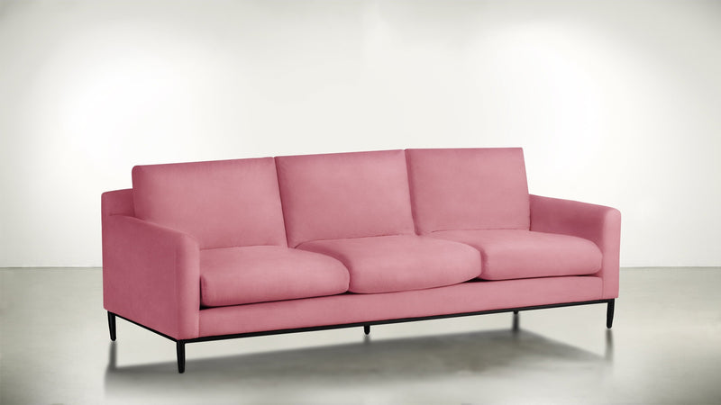 The Tastemaker Sofa 7' Sofa Structured Velvet Flamingo / Black Whom. Home