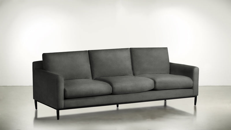 The Tastemaker Sofa 7' Sofa Structured Velvet Gladiator Gray / Black Whom. Home