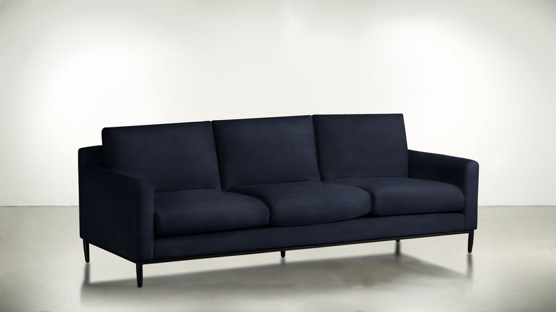 The Tastemaker Sofa 7' Sofa Velvet Knit Cobalt / Black Whom. Home