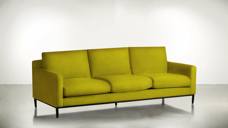 The Tastemaker Sofa 7' Sofa Velvet Knit Marigold / Black Whom. Home