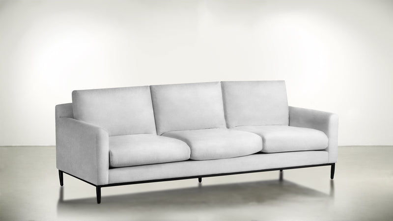 The Tastemaker Sofa 7' Sofa Velvet Knit White / Black Whom. Home