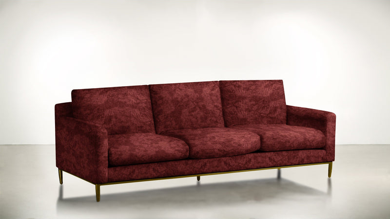 The Tastemaker Sofa 7' Sofa Crushed Micro-Chenille Bordeaux / Brass Whom. Home